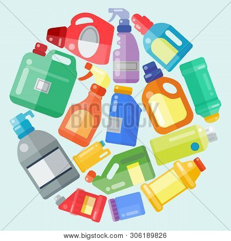 Cleaning products household bottle plastic liquid detergent product vector illustration. Housework supplies. Cleaner disinfect equipment packaging. Cleanup care housekeeping fluid container poster