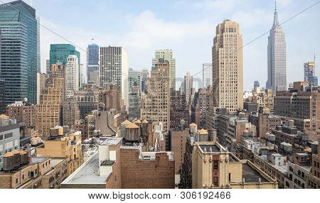 Aerial View Of Manhattan Skyscrapers, New York City, Cloudy Spring Day