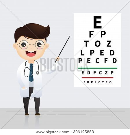 Ophthalmology Concept. Oculist Pointing At Eye Test Chart. Eyesight Examination And Correction. Vect