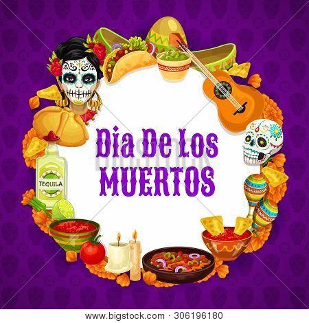 Dia De Los Muertos Signs In Round Frame, Day Of Dead Mexican Holiday. Vector Frida Catrina, Burritos