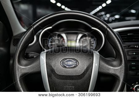 Novosibirsk, Russia - June 11, 2019:  Datsun On-do, Close-up Of The Dashboard, Speedometer And Tacho