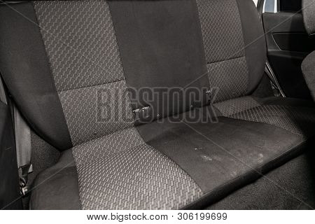 Novosibirsk, Russia - June 11, 2019:  Datsun On-do,close-up Of The Black And Gray  Rear Seats With S