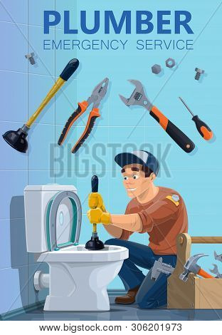 Plumber And Emergency Plumbing Repair Service, Worker With Work Tools. Vector Plumber Man Cleaning T