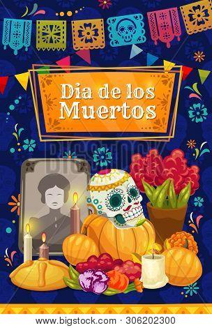 Mexican Day Of The Dead Altar With Vector Sugar Skull. Dia De Los Muertos Holiday Tombstone, Marigol