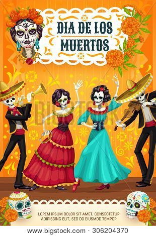 Dia De Los Muertos, Mexican Day Of Dead Party Poster Of Calavera Skull And Marigold Flowers. Vector