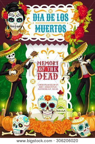 Day Of Dead Mexican Dia De Los Muertos Party Fiesta Poster Of Skeletons In Sombrero Playing Guitar.