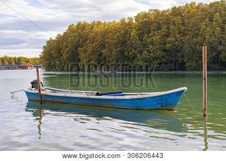 Blue Wooden Boat Floating Over Fresh Water Canal Against Beautiful Mangrove Forest In Trad Province