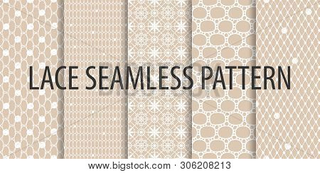 Set Of Seamless Mesh Black Lace Patterns On Brown Background.