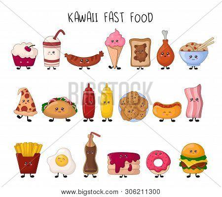 Set Of Kawaii Fast Food - Sweets, Junk Food, Hamburger, Sweet Drink On White Background, Cute Charac