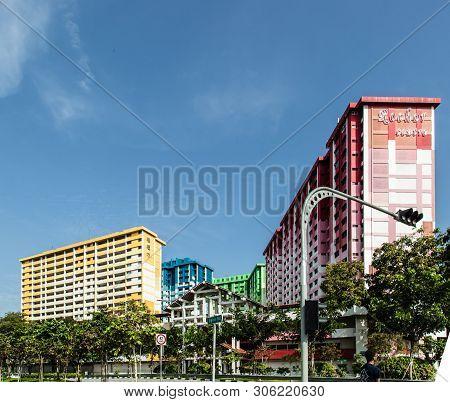 Singapore-22 Jul 2017:colorful Singapore Hdb Residential Building,rochor Centre