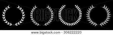 Silhouette Round Laurel Foliate Wheat Wreaths Line Set. Award Concept. Flat Design. Black Background
