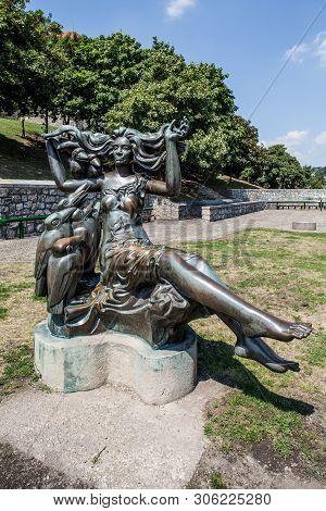Bratislava, Slovakia. 04 August 2015.  Raven Mother Statue In Bratislava