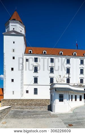 Bratislava, Slovakia. 04 August 2015. Monumental Castle In Bratislava. Most Famous Building In Brati
