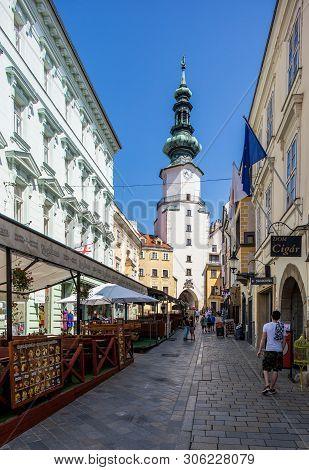 Bratislava, Slovakia. 04 August 2015.  Bratislava, Slovakia. Medieval Saint Michael Gate Tower.