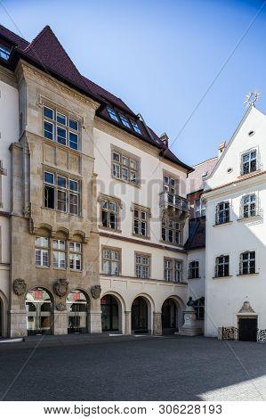 Bratislava, Slovakia. 04 August 2015. Old Town Hall Courtyard In Bratislava