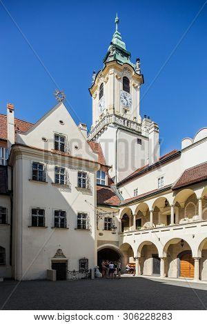 Bratislava, Slovakia. 04 August 2015. The Plain Jesuit Church On The Main Square In Bratislava Slova