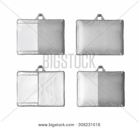 Duvet Packed In To The Pvc Bag Against The White Background.