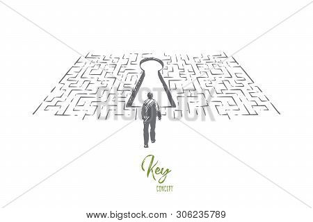 Solution Searching, Man Finding Exit In Labyrinth, Difficult And Complicated Situation, Challenge Me