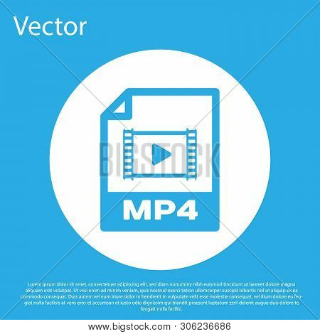 Blue Mp4 File Document Icon. Download Mp4 Button Icon Isolated On Blue Background. Mp4 File Symbol.