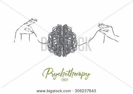 Scribble Brain, Hands Untangling Mind Thread, Problem Solving Metaphor