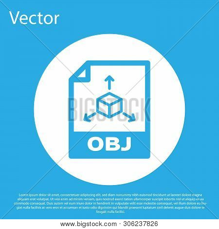 Blue Obj File Document Icon. Download Obj Button Icon Isolated On Blue Background. Obj File Symbol.