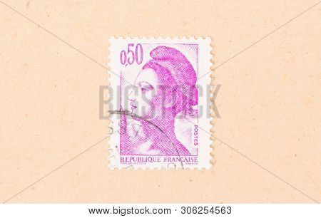 France - Circa 1980: A Stamp Printed In France Shows Portrait Of A Woman, Known As Liberty, After Eu