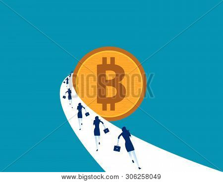 Buisiness People Running To Bitcoin. Concept Business Vector Illustration. Currency Technology Bitco