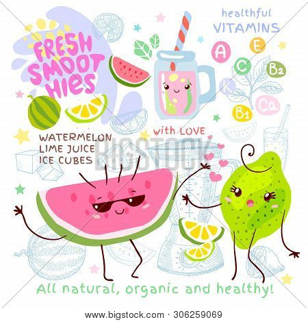 Fresh Smoothie Recipe Cute Kawaii Characters. Fruits Ingredients Glass Jar Vitamin Funny Style. Wate