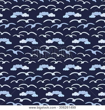 Cute Seagull In The Dark Blue Clouds Silhouette Cartoon Seamless Vector Pattern. Hand Drawn Ocean Li