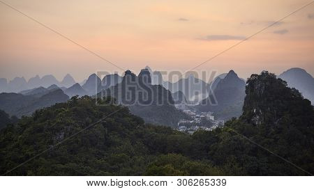 Scenic Sunset Over Karst Mountains In Guilin, One Of China Top Tourist Destinations.