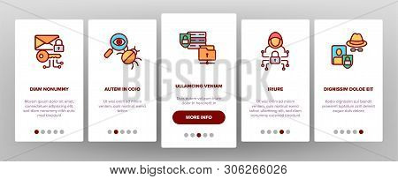 Cipher Onboarding Mobile App Page Screen Vector Icons Set. Information Encryption Thin Digital Secur