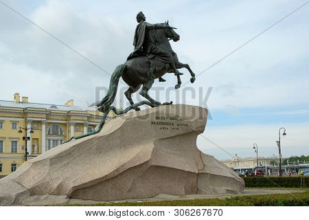 Saint Petersburg, Russia - May 25, 2019 - View Of Monument Of Russian Emperor Peter The Great, Known
