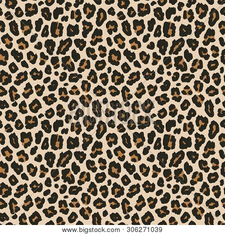 Leopard Print. Vector Seamless Pattern. Animal Skin Background With Black And Brown Spots On Beige B