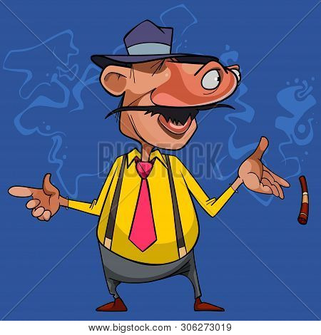 Cartoon Curious Man Moved His Eyes To His Nose And Quit Smoking