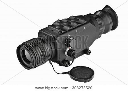 Black Steel Night-vision Monocular Army Devise On White Background