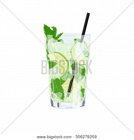 Vector Cartoon Flat Illustration Of Isolated Lemonade Or Classic Mojito Cocktail. Hand Drawn Glass O
