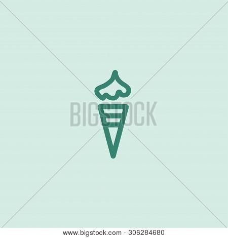Valentine Day Icecream On Blue Icon. Romantic Design Elements Isolated. Thin Line Version. Vector Il