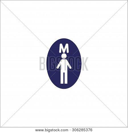 Man Toilet, Washroom Icon Isolated Sign Symbol. Flat Vector Illustration.