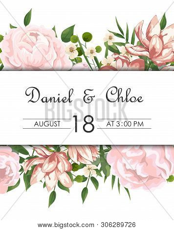 Wedding Floral Invite, Invtation, Save The Date Card Design. Watercolor Blush Pink Roses, Cute White