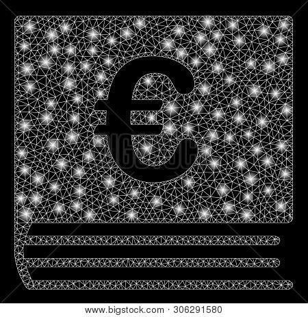 Bright Mesh Euro Bookkeeping Book With Glow Effect. Abstract Illuminated Model Of Euro Bookkeeping B