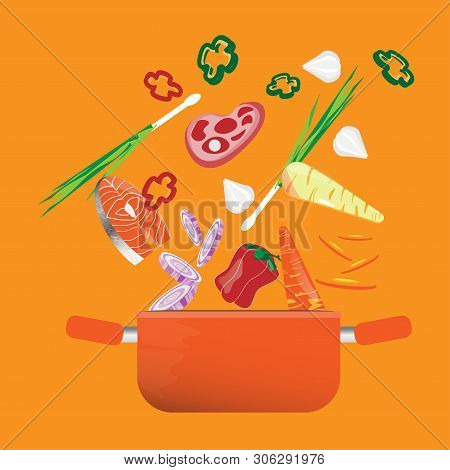 Fresh Vegetables Falling Into A Casserole Pot.cooking Soup With Vegetables. Vegetables Fall Into The