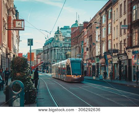 Dublin, Ireland - September 2018. Luas Tram For Public Transport In The Abbey Street With Buildings