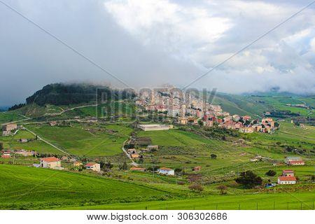 Amazing View Of Village Gangi In Sicily, Italy Photographed In Foggy Weather. The Historical City Is
