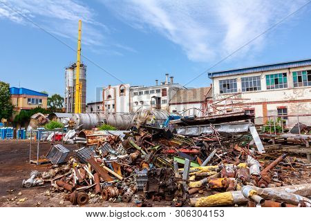 Piled Up Scrap Metal, Old Profiles And Equipment, Parts Of Old Industrial System, Complex After Cass