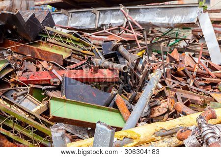 Different Shapes And Sizes Of Cut Old Profiles And Equipment, Industrial Scrap Metal, After Cassatio