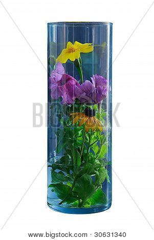 Flowers Into A Glass Vase.