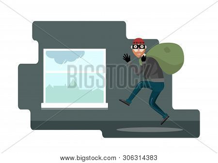 Funny Thief Character. Vector Illustration. Bandit With Bag. The Robber In The Mask Comes Out Throug