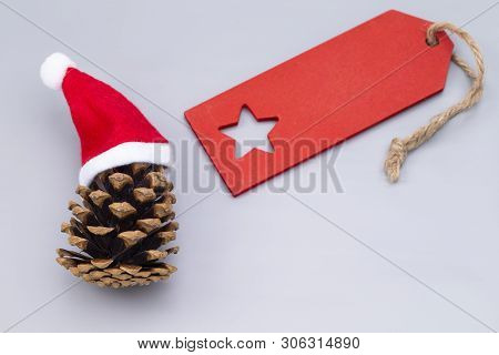 The Image Shows A Pine Crone With Santa Hats And A Red Blanc Tag, Isolated On Grey