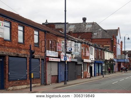 Ashton Under Lyne, Greater Manchester, England - 4 June 2019: A View Of Oldham Road In Ashton Under