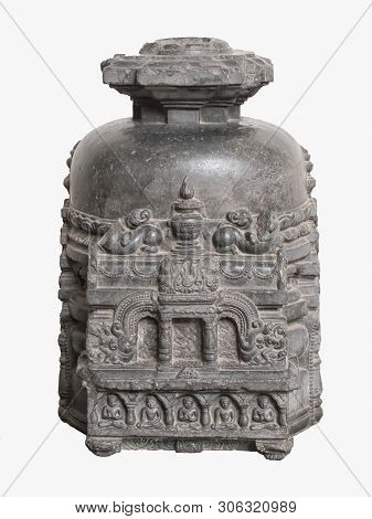 Archaeological Sculpture Of Votive Stupa From Indian Mythology Of Eleventh Century, Basalt, Bodhgaya